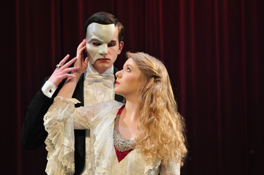 "Emma Choate as Christine Daae and Wyatt Smith as the Phantom in  ""Phantom of the Opera."""