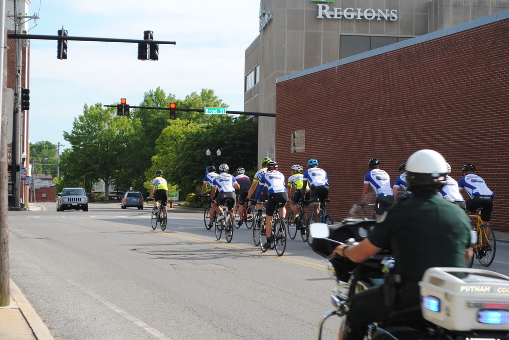Assisted by the Putnam County Sheriff's Office, a group of Los Angeles police officers biked through Cookeville Monday afternoon as part of a 2,600-mile cross-country trek to Washington, D.C., to remember officers who lost their lives in the line of duty.