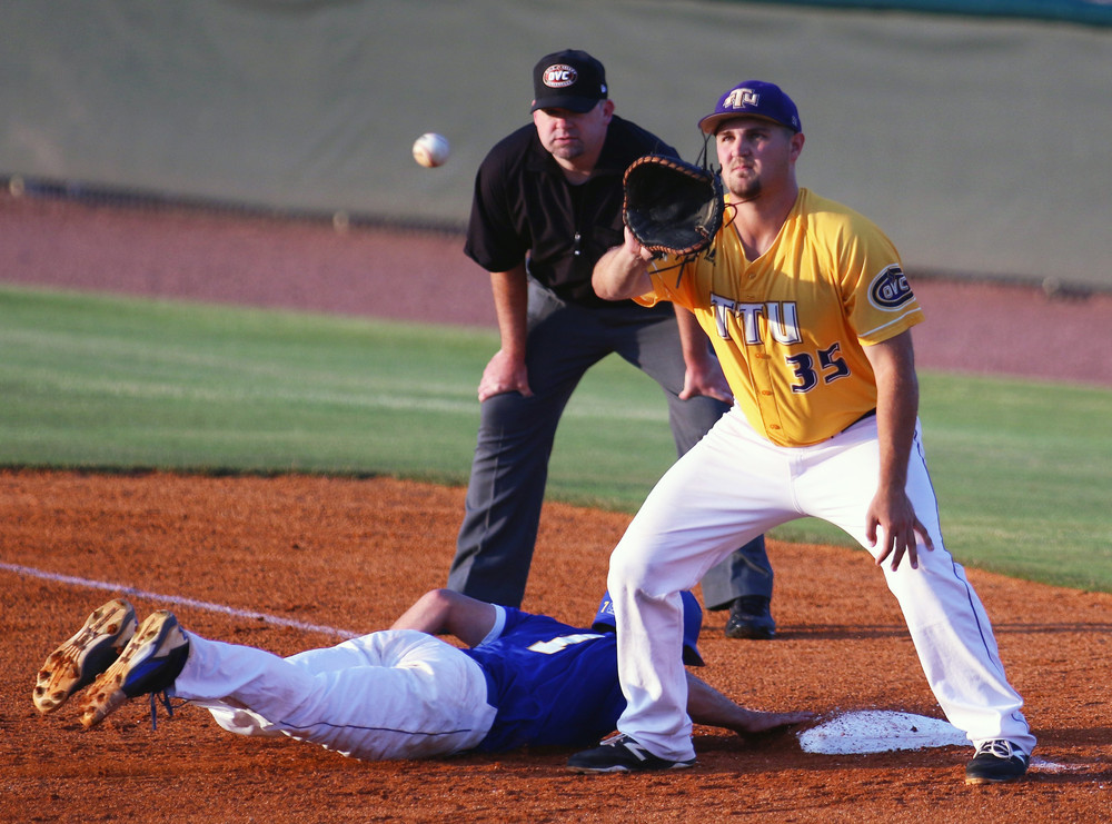 First baseman Chase Chambers receives a pick-off throw during the Golden Eagles' game with Belmont earlier this year. TTU beat the Bruins Saturday and now awaits their opponents for next week's Super Regionals.