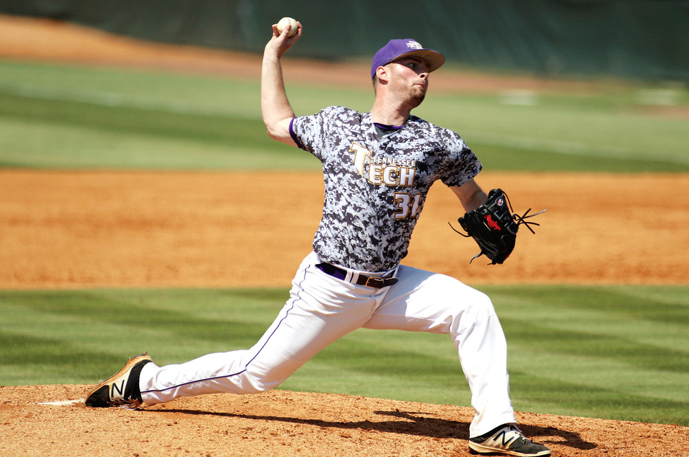 Evan Fraliex helped pitch the Tennessee Tech Golden Eagles to a 16-4 victory over Belmont Saturday in the championship game of the Ohio Valley Conference Baseball Tournament.