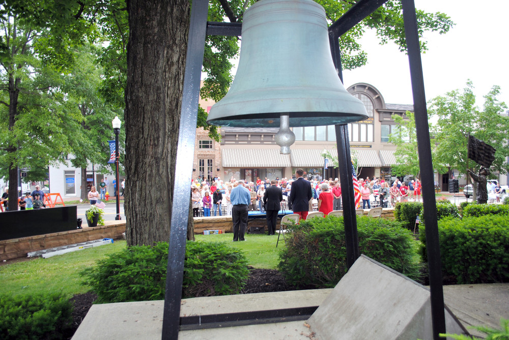 A view of the Memorial Day service from the bell at the Putnam County Courthouse.