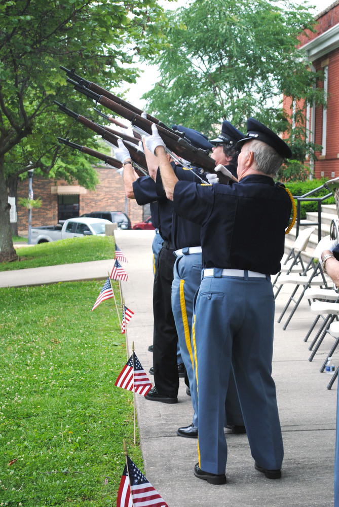 The Veterans Honor Guard conducted a firing honors salute near the conclusion of the Monday Memorial Day Service.