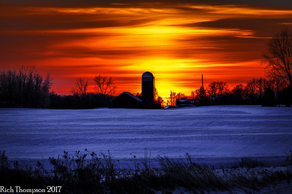 Sunset Over a Wisconsin Farm