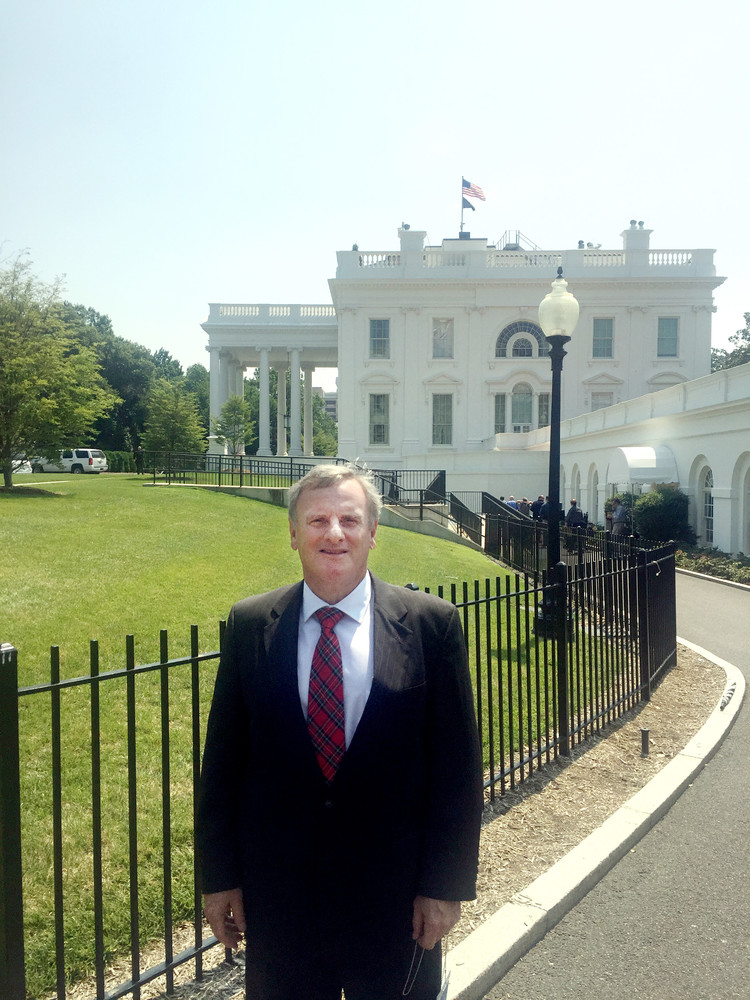 Dr. Thomas Little outside the White House prior to his participation in a round table discussion.