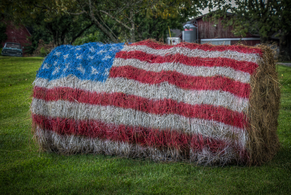 Red, White and Blue Hay Bale.