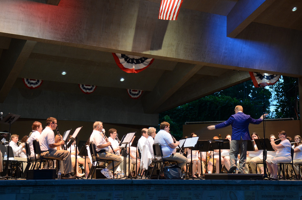 Cookeville Community Band Independence Day Concert in Dogwood Park.