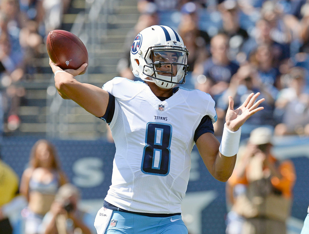 In this 2016 photo, Tennessee Titans quarterback Marcus Mariota passes against the Oakland Raiders in the first half of a game in Nashville. Mariota will be coming to speak at high schools in the Upper Cumberland on July 25.