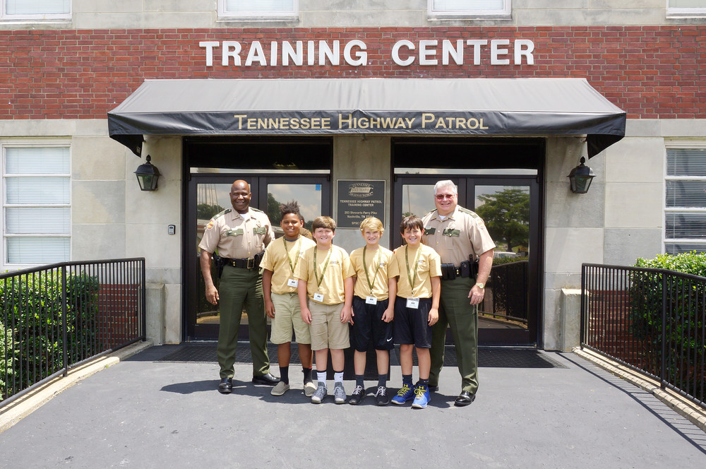 Putnam County student graduates of this year's Junior Trooper Academy are pictured from left with THP Lt. Colonel Tony Barham Jr; cadets Clayton Harris, Nathan Ledbetter, Kameron Bush and Zachary Neal; and THP Major Danny Talley. Harris is the son of Michelle Johnson. Ledbetter is the son of Kerry and Karen Ledbetter. Bush is the son of Derek and Amanda Bush, and Neal is the son of THP Lt. Jimmy and Christy Neal. All four are students at Upperman Middle School.