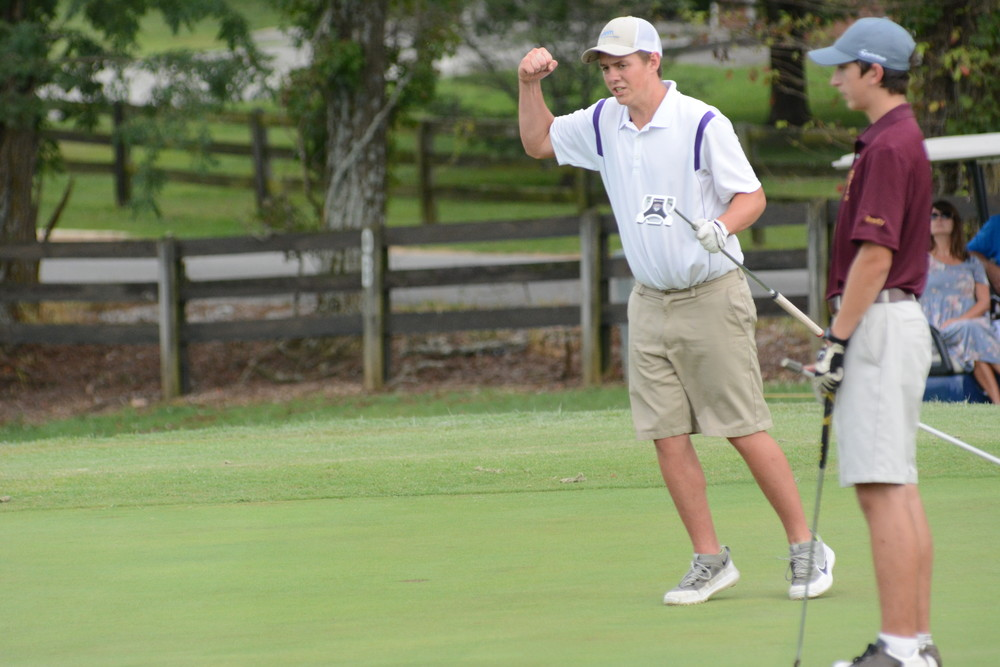 Monterey's Matt Harris reacts after making a put Tuesday during action at Southern Hills Golf and Country Club. Harris shot 39 for nine holes to help the Wildcats beat Upperman, Gordonsville and Cannon County.