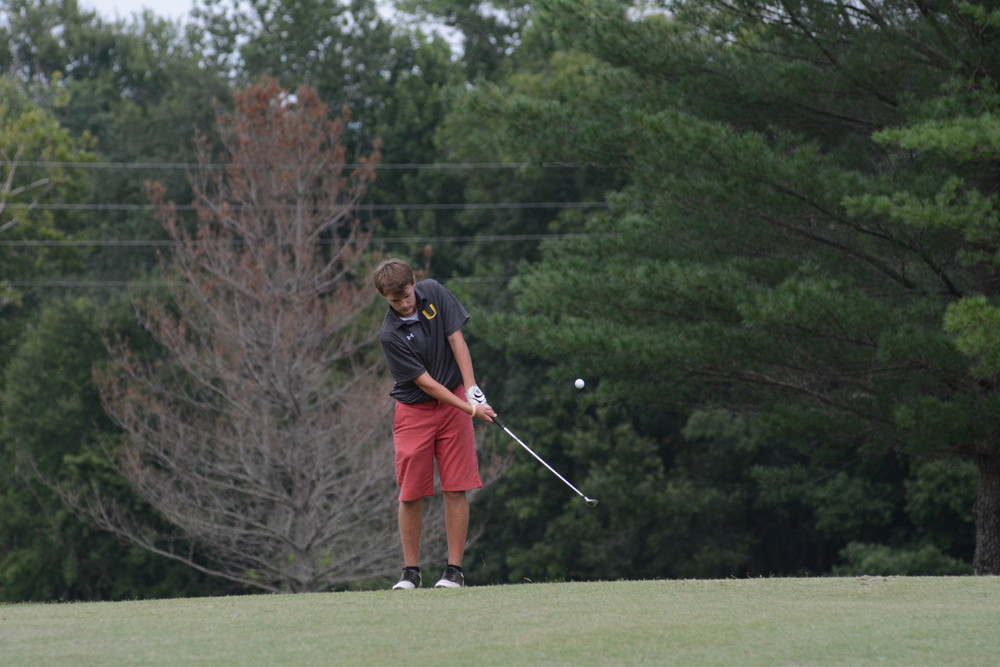 Upperman's Mason Haggard chips on to the green Tuesday as he shot 46 for the Bees.