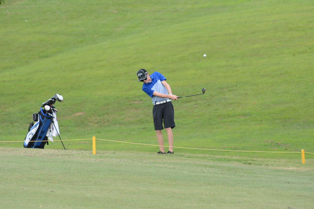 Jacob Lambert of Gordonsville hits his approach shot to the green Tuesday on his way to shooting a 39.