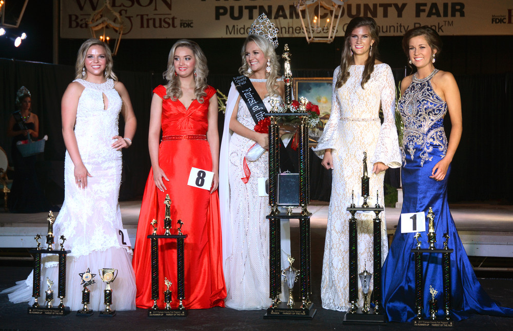 The Fairest of the Fair queen and her court are, from left, 4th runner up Madison Phillips, 18, of Baxter, daughter of Shawn and Christy Phillips; 2nd runner up Breckyn Eisenhower, 18, of Cookeville, daughter of Ron and Dawn Eisenhower; Fairest of the Fair Abigail Dalton; 1st runner up Ali Jane Gilbert, 18, of Cookeville, daughter of Chad and Anna Gilbert; and 3rd runner up Hallie Spurlock, 18, of Cookeville, daughter of Randy and Patty Spurlock.