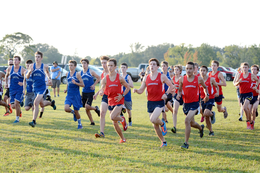 The Cookeville High School boy's cross country team starts the race during the MSCCA Jamboree at CHS on Thursday.
