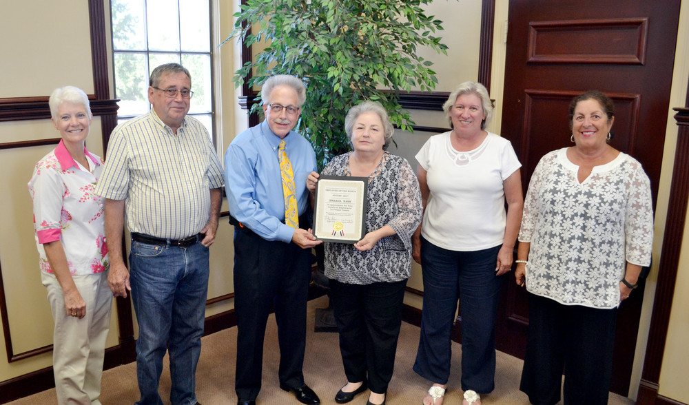 Brenda Nash of the Putnam County Highway Department was recognized as this month's Employee of the Month. Pictured, from left, are county commissioner Cindy Adams, Road Supervisor Randy Jones, County Clerk Wayne Nabors, Nash, and county commissioners Kim Bradford and Cathy Reel.