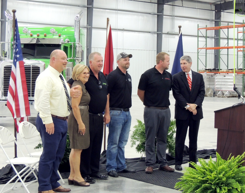 White County Executive Denny Wayne Robinson, left, stops for a photo with Congressman Diane Black, Tommy Fitzgerald Sr., Robert Fitzgerald, Tommy Fitzgerald Jr. and Tennessee Economic and Community Development Commissioner Bob Rolfe during the July opening ceremony at Fitzgerald Industrial Park.