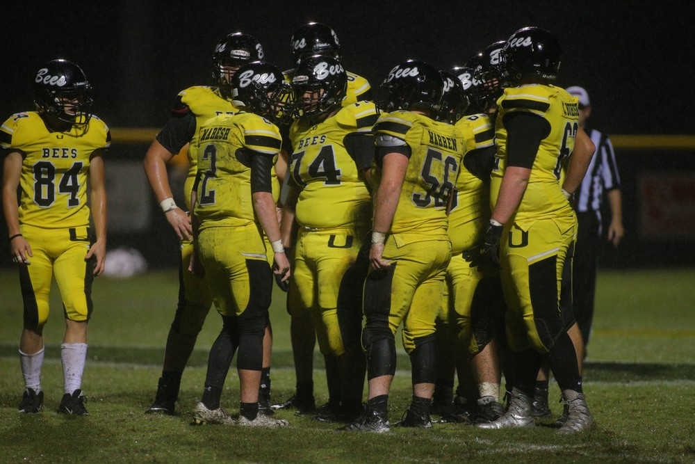 Upperman QB Duke Maresh (2) calls the play in the huddle.