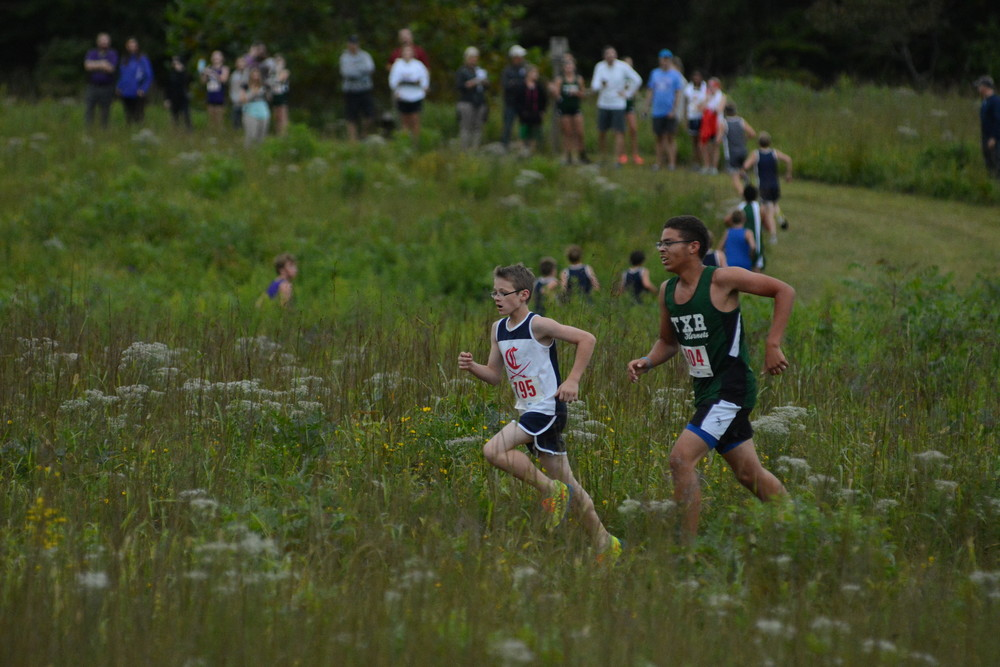 Owen Hadlock, left, tries to catch up with the pack.