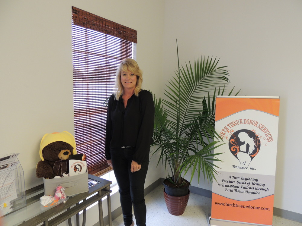 Sherry Spradling, president/CEO of Birth Tissue Donor Services, in her office at 1435 S. Jefferson Ave.