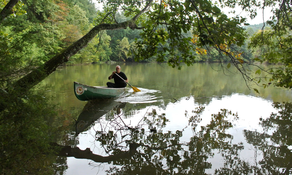 George Furman enjoys canoeing at Cookeville's City Lake.