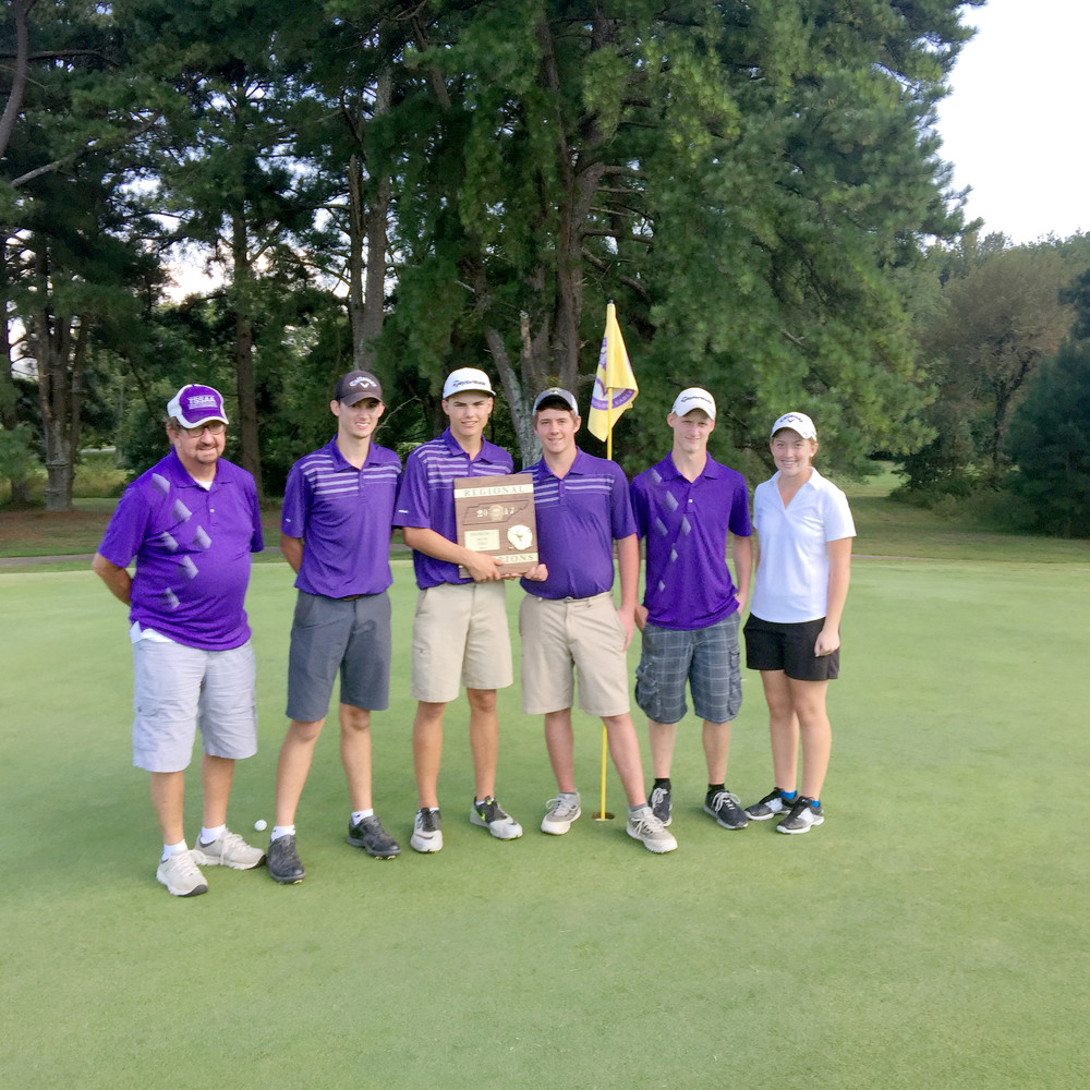 The Monterey High School Wildcats captured the region golf championship Friday at the Golden Eagle Golf Club. The team includes: Lane Phipps, Cade Painter, Matthew Harris and Chris Willix. Max Troyer was not pictured. Hunter Grubbs, far right, captured the girls' individual title. Monterey is coached by veteran Pokey Looper.
