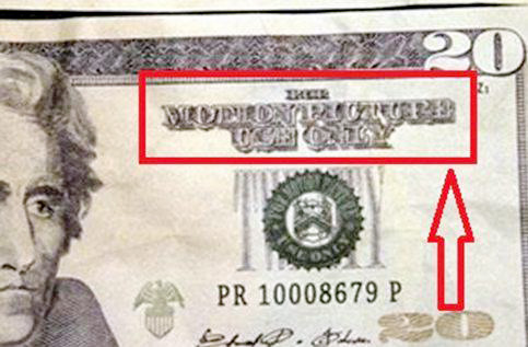 "Cookeville Police posted this photo on social media about counterfeit $20 bills being circulated within the city. The upper righthand corner reads ""motion picture use only."""