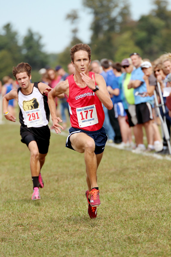 Cookeville's Blake Daniels drives to the finish line during the Burnett Invitational Saturday.