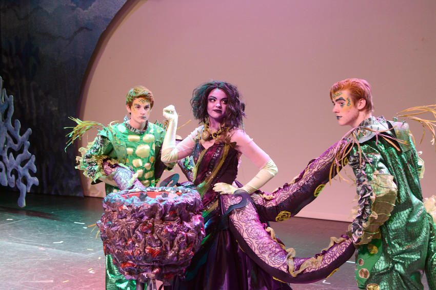 "Slippery eels Jetsam (Cayden Morack), left, and Flotsam (Logan Wilkinson) prepare to do the dirty work for sea-witch Ursula (Ruth Ann Ramsey) in CCT's production of Disney's ""The Little Mermaid."""