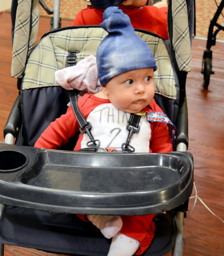 Even the little ones got into the act at Life Care Center of Sparta's annual Trick-or-Treat. Four months old Julianne Key wasn't as impressed with the costumes as her older family members. She played Thing 2 from Dr. Seuss' The Cat In The Hat. Relative Xander Richey, 1, played Thing 1.