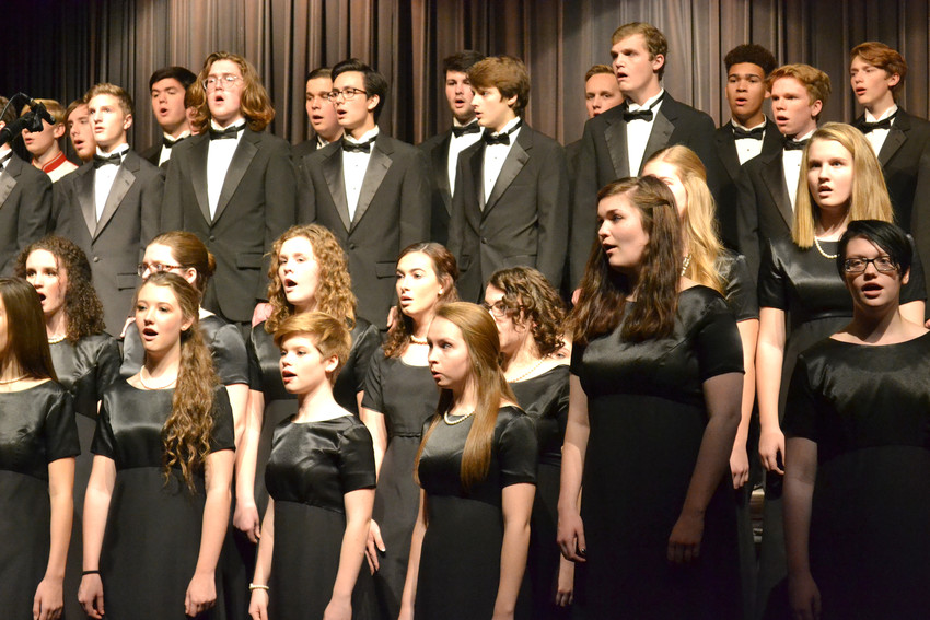 Members of the Cookeville High School chorus perform Battle Hymn of the Republic during the Veterans Program Thursday.