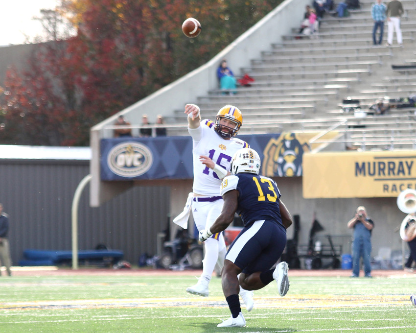Tech quarterback Luke Ward throws for a completion during Saturday's action.