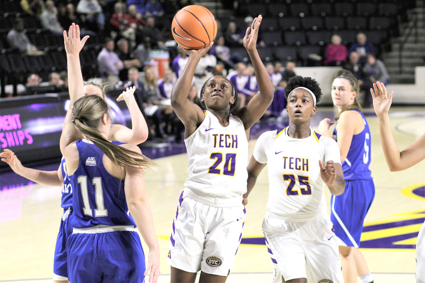 Kesha Brady rolls to the basket. She led Tech with 21 points.