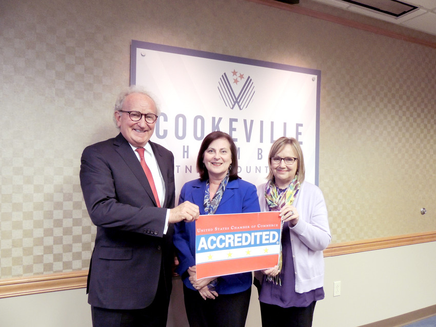 George Halford, Cookeville-Putnam County Chamber of Commerce president; Jill Horner, board chair; and Dianne Callahan, vice president of organizational development, celebrate the recent 4-Star accreditation.