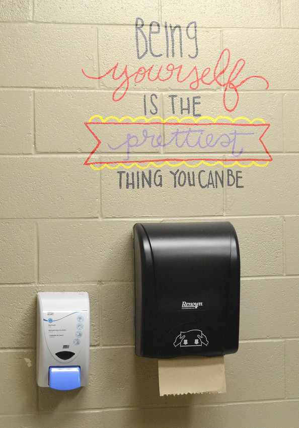One of the encouraging phrases painted on a restroom wall at Northeast Elementary School.