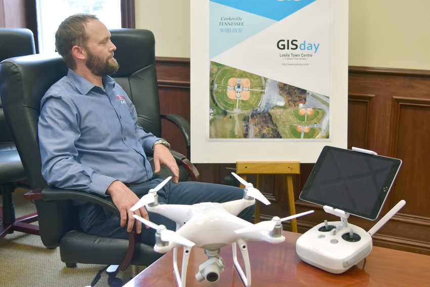 Cookeville GIS Systems Manager Ben Drury looks over an aerial photo made using the city's drone in preparation for GIS Day Wednesday.