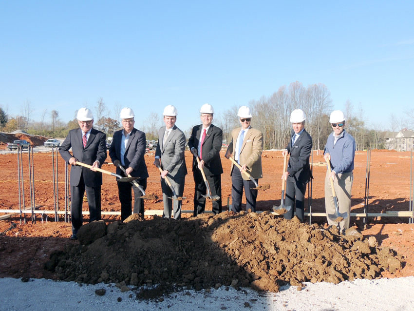 Celebrating the groundbreaking of the Shoppes at Eagle Point, from left, are George Halford, Chamber president; Jeff Browning, Browning Development; Mike McGuffin, CHM; Randy Porter, Putnam County executive; Ricky Shelton, Cookeville mayor; David Neuhoff, vice president of development with CBL Properties; and Curt Hammontree, CBL.