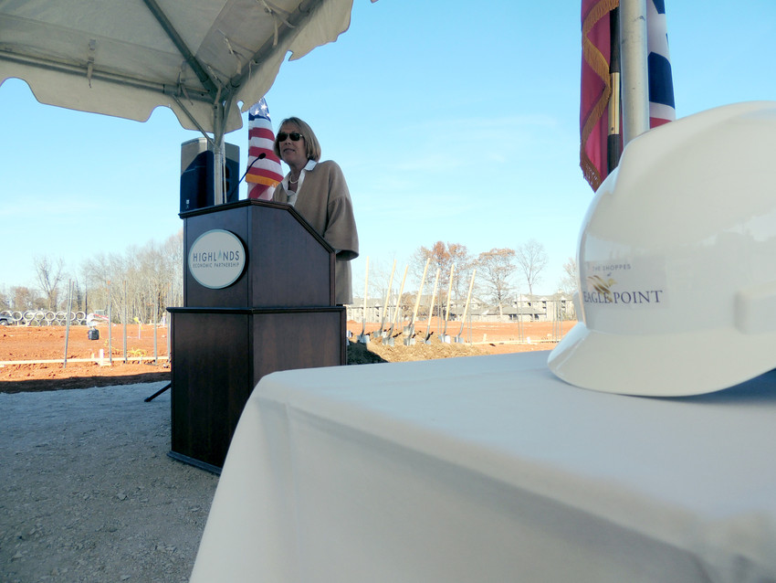 Melinda Keifer, economic development coordinator with the City of Cookeville, had opening remarks during the groundbreaking ceremony Tuesday. In the background is the pad for Publix.