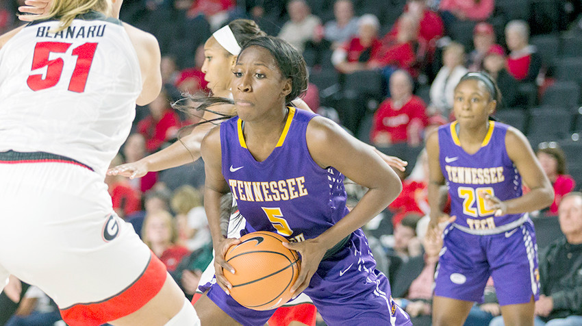 "Tennessee Tech's Yactavia ""Shug"" Hickson (5) looks for an open teammate during the Golden Eagles 56-48 loss to Georgia on Monday in Athens."