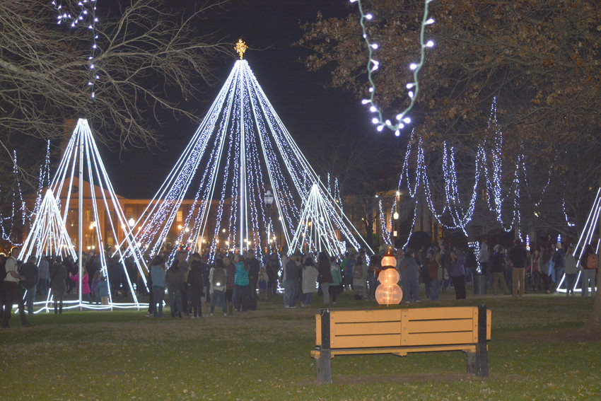 A crowd gathers for the tree lighting at Tennessee Tech's Quad Tuesday night.