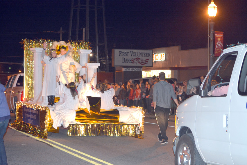 One of the floats with angels during the Monterey Christmas Parade.