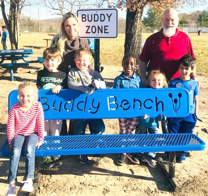 A Buddy Bench has now been installed on the playground at Park View  Elementary School. Pictured, from left, are Kenlee Longmire, Adam Lemmelin, kindergarten teacher Angela Dixon, Logan Vaughn, Cassidy Roebuck, Izabella Billings, Principal Bobby Winningham and Ali Bohamad.