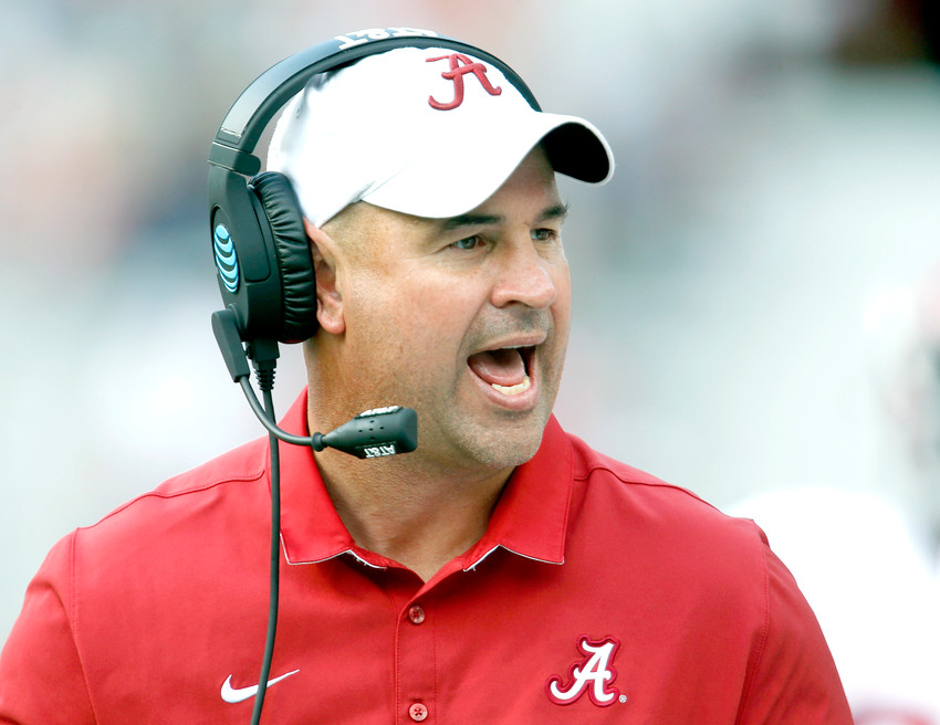 FILE - In this April 22, 2017, file photo, Alabama defensive coordinator Jeremy Pruitt, coach of the White team, yells to his team during Alabama's annual A-Day spring football game in Tuscaloosa, Ala. No. 1 Alabama and No. 6 Auburn bring two of the SEC's most dominating defenses into this marquee Iron Bowl showdown after reloading on that side of the ball following the departure of several starters. (Gary Cosby Jr./Tuscaloosa News via AP, File)