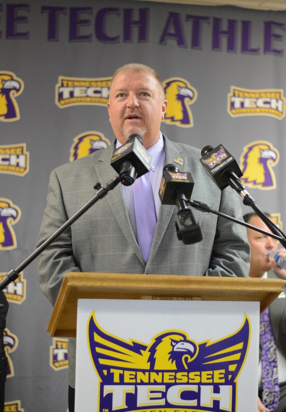 New Tennessee Tech head football coach Dewayne Alexander speaks during a press conference announcing his hiring on Friday at TTU.