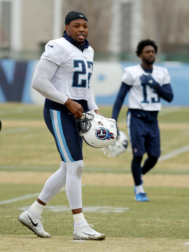 Tennessee Titans running back Derrick Henry (22) walks to a drill during an NFL football practice Wednesday, Jan. 10, 2018, in Nashville, Tenn. The Titans are scheduled to play the New England Patriots in an AFC divisional round playoff game Saturday. (AP Photo/Mark Humphrey)