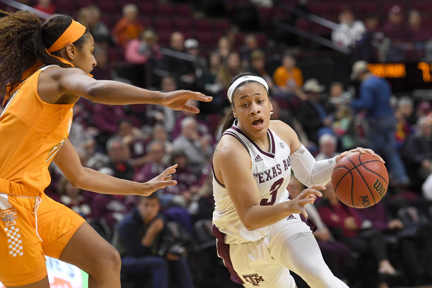 Texas A&M's Chennedy Carter (3) drives the ball past Tennessee's Jaime Nared (31) during the second quarter of an NCAA college basketball game Thursday, Jan. 11, 2018, at Reed Arena in College Station, Texas. (Laura McKenzie/College Station Eagle via AP)