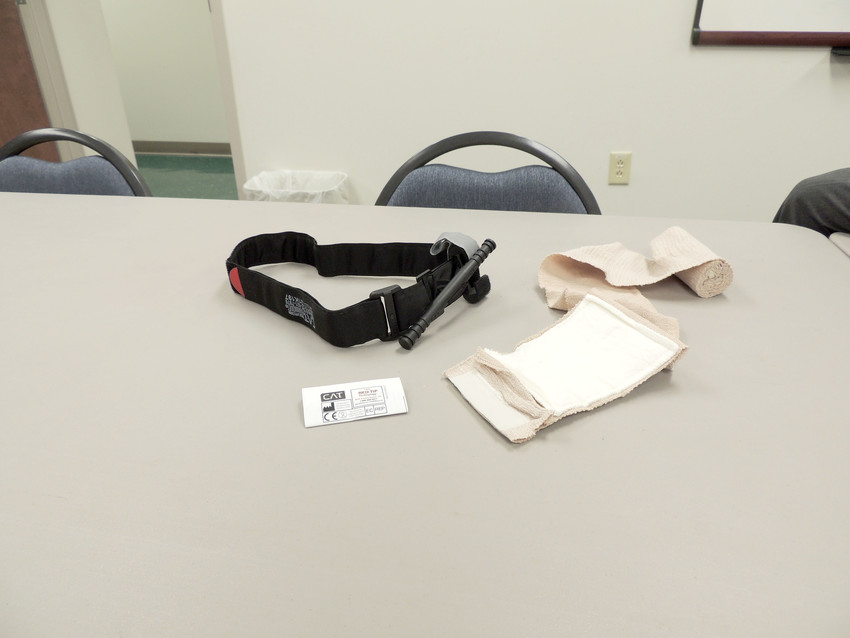 The kit that groups will receive upon completion of the mass casualty training includes a tourniquet and compression bandage.
