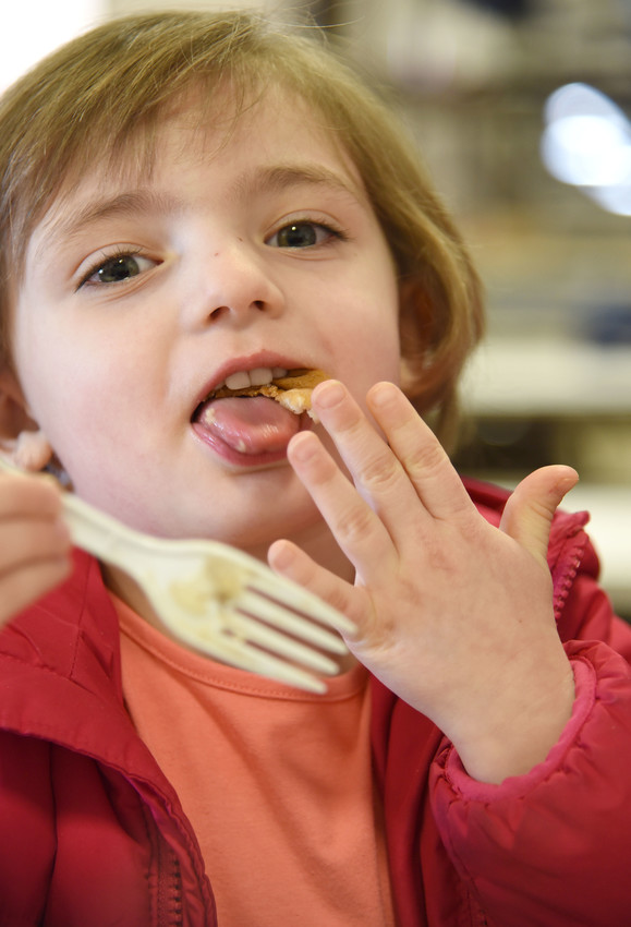Five-year-old Kennedy Byars enjoys a pancake at the Cookeville Noon Rotary annual pancake breakfast Saturday morning at the Upper Cumberland Home and Garden Show. The annual fundraiser helps provide funds for Rotary scholarships in the Upper Cumberland.