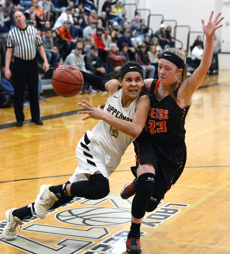 Upperman's Akira Levy, left, tries to get around a defender during the Lady Bees' 74-50 win over Meigs County on Saturday in a sub-state game at UHS.