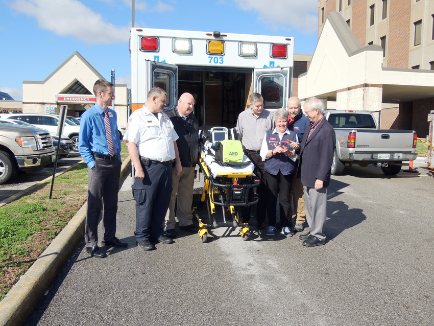 Those who helped make Pulsepoint possible for Putnam County pose for a photo. From left, John Bell, CRMC Foundation; Chief Tommy Copeland, PCEMS; Director Mike Thompson, PC911; Randy Shelton, PC911 Board; Blanche Smithers, Mended Hearts; Dr. Sullivan Smith, CRMC, Dr. Chuck Womack, Cookeville City Council