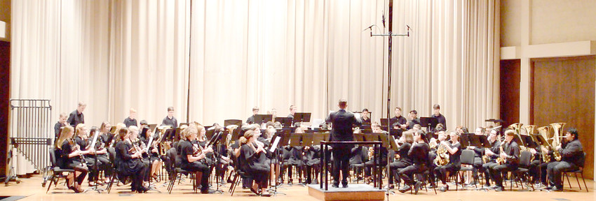 The 7th and 8th Grade symphonic band at Avery Trace Middle School perform during a recent competition.