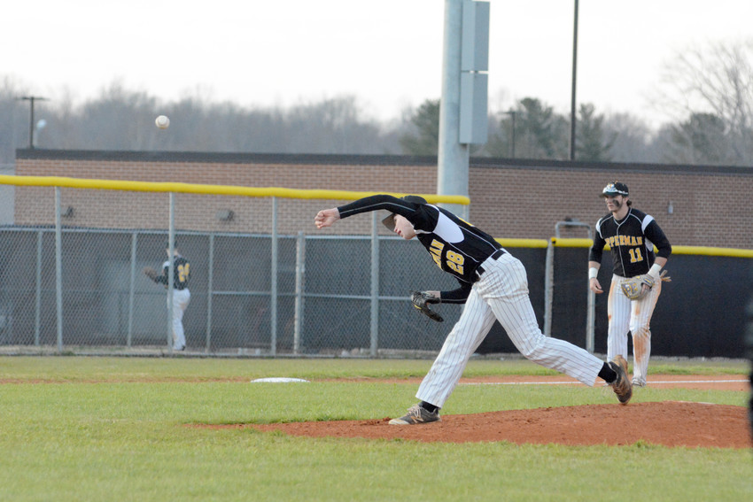 Upperman High School's Will Mabrey fires to the plate during the Bees' season opener Tuesday night against Stone Memorial. Mabrey struck out 10 to help the Bees win 11-1.